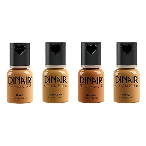 Dinair Airbrush Makeup Foundation | Tan Shades | Glamour: Natural, Light Coverage, Matte