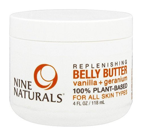 Nine Naturals Vanilla + Geranium Regenerative Pregnancy Belly Butter 4 Oz