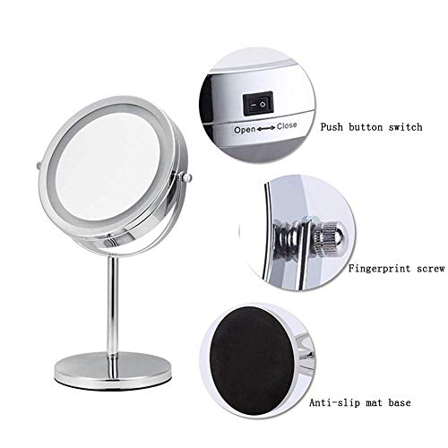 DX.JZ LED Lighted Desktop Makeup Mirror 7X Magnifying 360 Rotation Two Sided High Definition Mirror Bathroom Bedroom Shaving Makeup Mirror