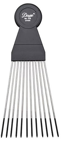 Diane Large Fan Pick, Black 12 Combs, Stainless Steel Teeth, Stainless, Steel, Coated Tips, Won't Hu