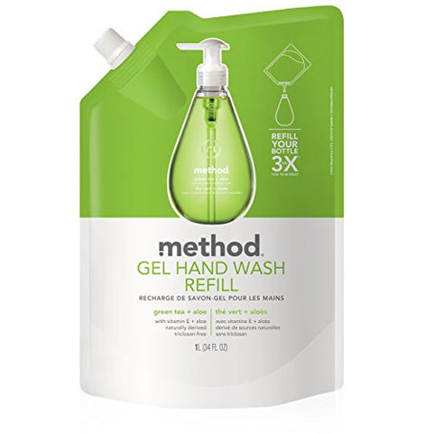 Method Gel Hand Soap Refill, Green Tea + Aloe, 34 Fl Oz (Pack Of 6)