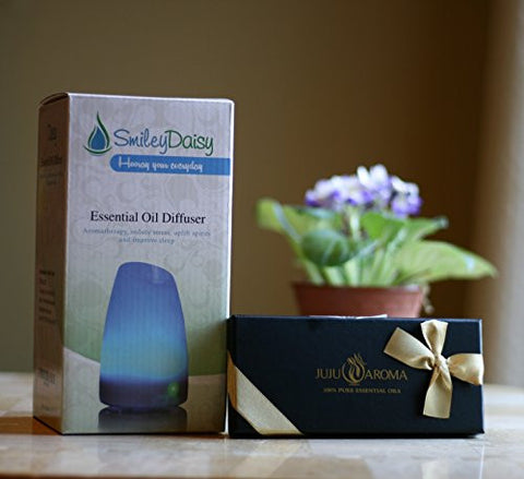 Essential Oil Diffuser By Smiley Daisy   Bundle With Juju Aroma Oil Gift Set   Great For The Holiday