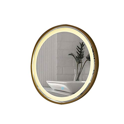 Beauty Mirror Wall Mirror with Coating Steel Frame Wall Mounted Round Big Mirror for Home Decorative Living Room Washroom Entryway Hanging Dressing Mirror (Color : Gold 1, Size : 70CMx70CM)