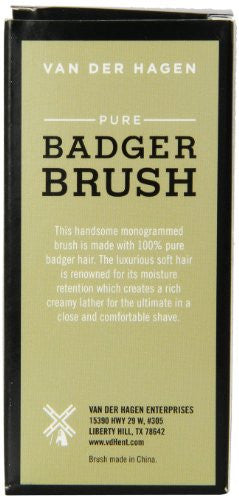 Van Der Hagen Mens Luxury, Badger Brush, 3 Ounce