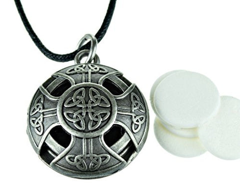 M Essentials Celtic Cross Pewter Aroma Aromatherapy Essential Oil Diffuser Necklace Locket Pendant Je