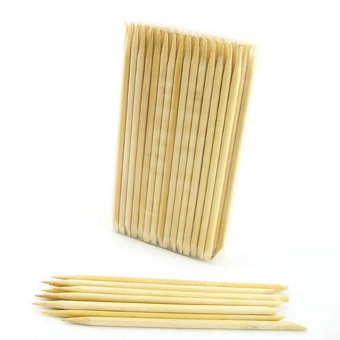 Bamboo Mn Disposable Bamboo 15cm 5mm Nail Art Manicure Pedicure Sticks Cuticle Pushers Remover Tool,