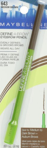 Maybelline New York Define A Brow Eyebrow Pencil, 643 Medium Brown, 0.0010 Ounce