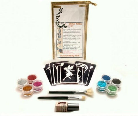 Glitter Shimmer Temporary Tattoo Party Kit 30 Tattoos   Water Proof Do It Yourself!