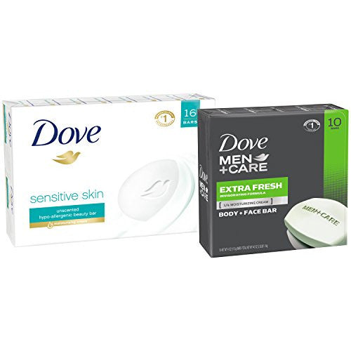 Dove Sensitive Skin Beauty Bar, Pack Of 16 And Dove Men+Care Extra Fresh Body And Face Bar
