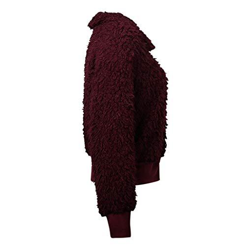 HNTDG Women's Casual Faux Fur Fleece Long Sleeve Zip Up Coat Warm Fuzzy Shaggy Parka Outwear Wine