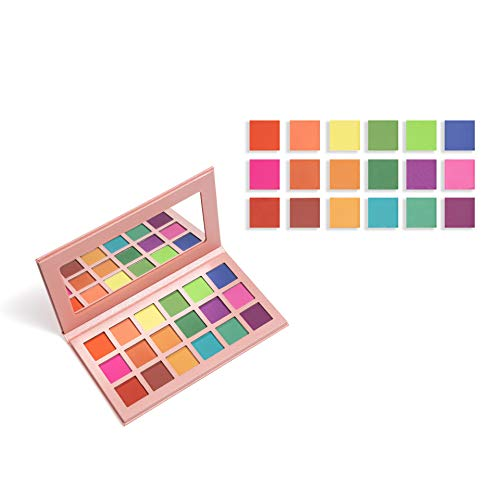 Matte Eyeshadow Palette Makeup, Highly Pigmented 18 Bright Colorful Eye Shadow Palettes, Blendable Long lasting Rainbow Silky Powder Shades