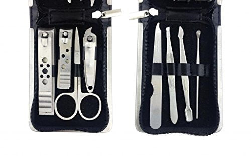 No.2 Warehouse 8in1 Manicure Grooming Set Kit Nail Clipper Leather Case Groom&Travelling Kit+ A Piec