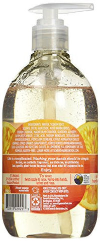Seventh Generation Hand Wash Soap, Mandarin Orange & Grapefruit , 12 Fl Oz, (Pack Of 8)