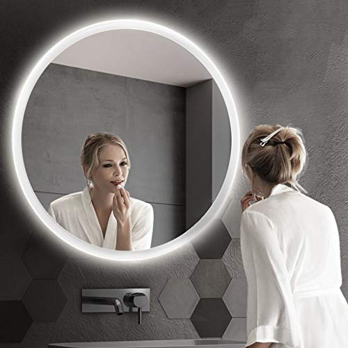 Beauty Mirror Round Frameless Wall Mirror,Touch Screen Switch Background Wall Decoration Mediterranean Style Bathroom Vanity Bedroom Mirror Dressing Mirror (Color : White Lights, Size : 60x60cm)