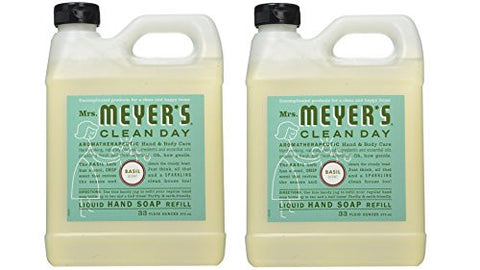 Mrs. Meyer's Liquid Hand Soap Refill, Basil, 33 Fluid Ounce Pack Of 2