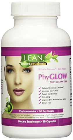 Lean Nutraceuticals Phytoceramides 350mg Capsules Phyglow Gluten Free All Natural Plant Derived Skin
