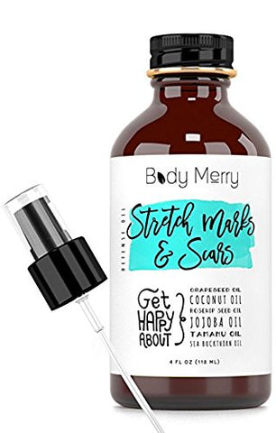 Body Merry Stretch Marks & Scars Defense Oil W All Natural Coconut Oil + Rosehip + Jojoba + Tamanu +