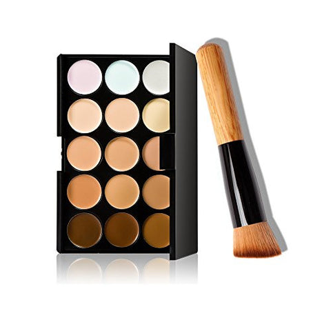 A Mark Up 15 Colors Concealer Makeup Cream Care Camouflage Contour Palette + Oblique Head Foundation B