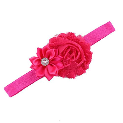 Lookatool Upgrade 10pcs Baby Girl Elastic Multicolor Flower Headband Rhinestone Hair Band