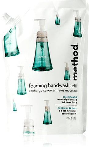 Method Foaming Hand Wash Refill, Sea Minerals, 28 Oz Pouch, 6/Carton