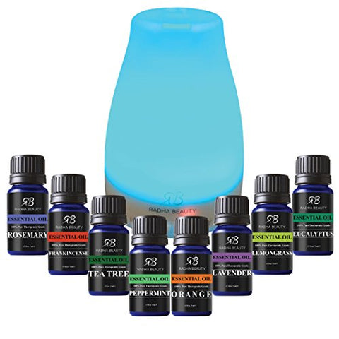 Aromatherapy Top 8 Essential Oil And Diffuser Gift Set   Peppermint, Tea Tree, Lavender & Eucalyptus