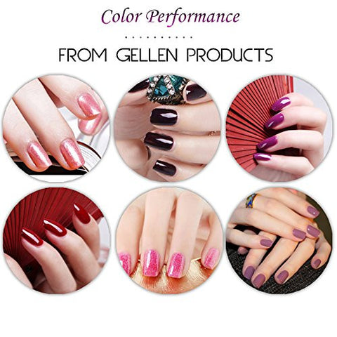 Gellen Gel Nail Polish Kit 6 Colors Collision Of Warm And Cold   Pure Glitters Colors Shade Home Nai