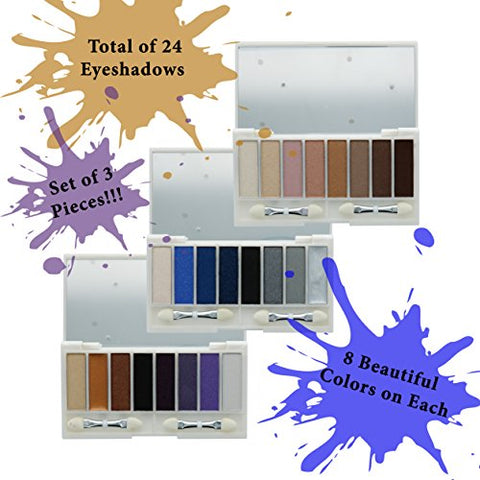 R.E.I.G.N 8 Color Eyeshadow Palette Kit, Set Of 3 #65