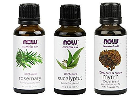 3 Pack Variety Of Now Essential Oils: Breathe Deep Blend   Rosemary, Eucalyptus, Myrrh