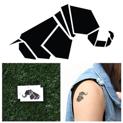 Tattify Origami Elephant Temporary Tattoo   Geo Elephant (Set Of 2)   Other Styles Available   Fashi