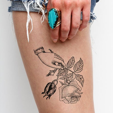 Tattify Rose Temporary Tattoo   For You (Set Of 2)   Other Styles Available   Fashionable Temporary