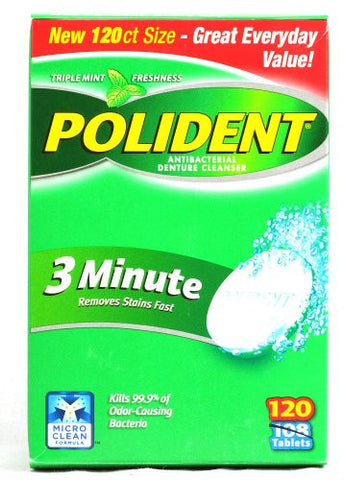 Polident 3 Minute, Antibacterial Denture Cleanser 120 Ea (Pack Of 6)