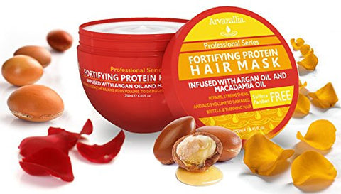 Fortifying Protein Hair Mask And Deep Conditioner With Argan Oil And Macadamia Oil By Arvazallia   H