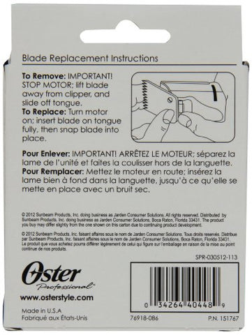 Oster Professional 76918 086 Size 1 Hair Clipper Replacement Blade 2.44 Mm