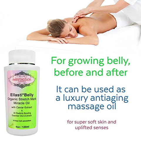Organic Ellasti Belly Stretch Mark Miracle Oil, 4oz. Stretch Marks Prevention In Pregnancy With Omega