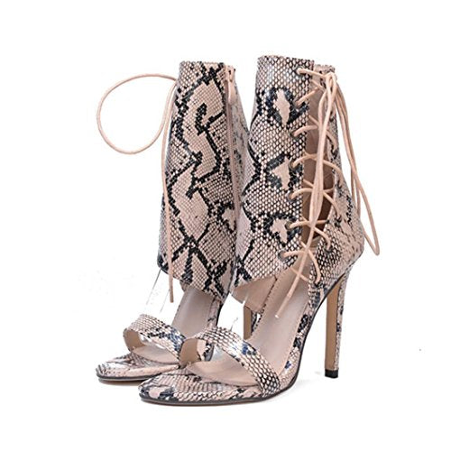 Women Lace Up High Heel Party Sandals Ladies Flip Flops Strappy Mules Shoes Size