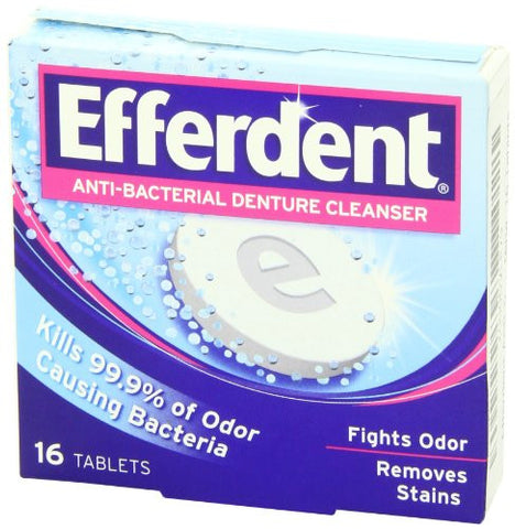 Efferdent Anti Bacterial Denture Cleanser Tablets, 16 Count