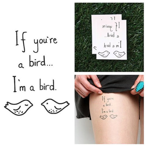 Tattify Bird Temporary Tattoo   Take Note (Set Of 2)   Other Styles Available   Fashionable Temporar