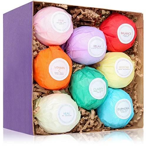 8 USA Made Vegan 2 oz Bath Bombs - Gift Set Ideas - Gifts For Women, Mom, Girls, Teens, Her - Ultra