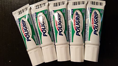 Super Poligrip Denture Adhisive Cream .35 Oz Pocket/Purse Size Sample Zinc Free