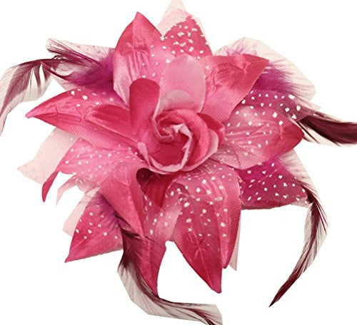 Wd2 U Dotted Lily Hair Clip/Brooch With Feathers Fuchsia 1086