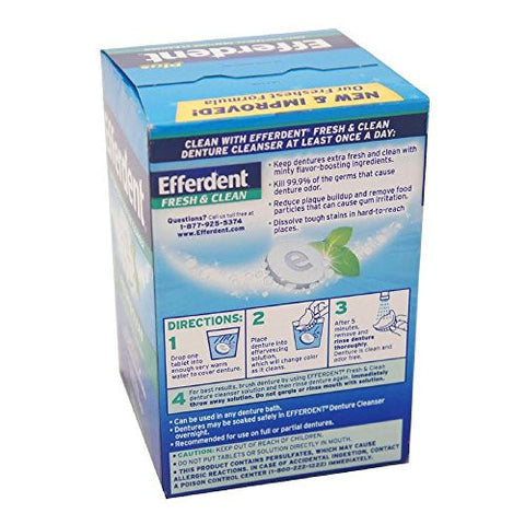 Efferdent Plus Mint Anti Bacterial Denture Cleanser Tablets 126 Ea (Pack Of 2)