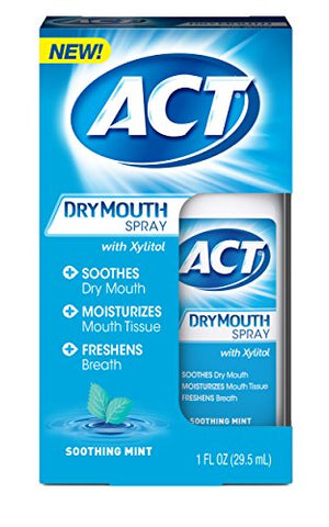 Act Dry Mouth Spray 1 Ounce Soothing Mint Flavored Spray With Xylitol Helps Moisturize Mouth Tissue