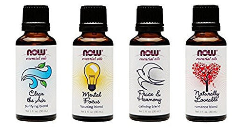 4 Pack: Now Foods Mood Lifting Variety Essential Oil Blends   1oz Each