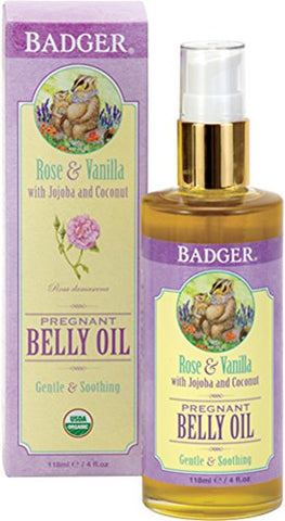Badger Pregnant Belly Oil, Rose & Vanilla   4 Oz