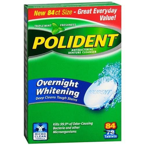 Polident Overnight Whitening, Antibacterial Denture Cleanser, Bonus Pack, Triple Mint Freshness 84 E