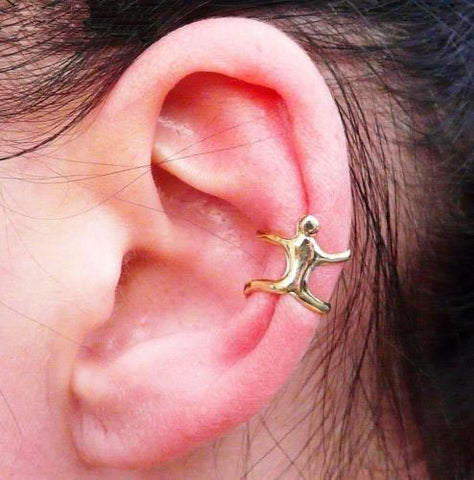 Sliver Climbing Man Naked Climber Ear Cuff Helix Cartilage Earring