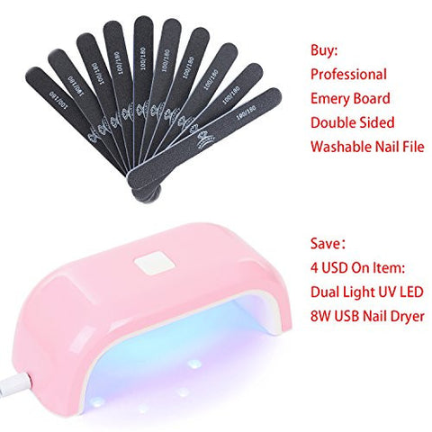 56d077bbb148 ... Makartt 10pcs  Pack Professional Nail Files Washable Double Sided Emery  Board 100 180 Grit