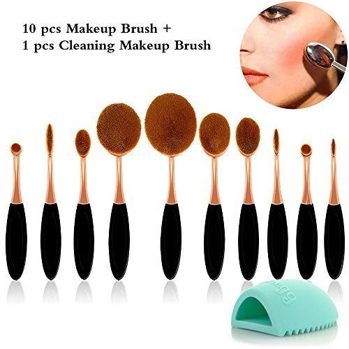 Travelmall 10 Pc/Set Soft Toothbrush Oval Makeup Brush Sets Foundation Powder Blusher Eyebrow Eyelin