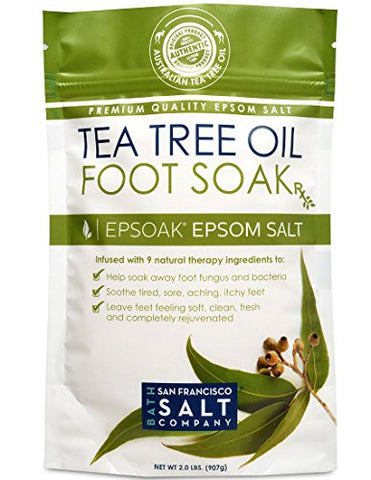 Tea Tree Oil Foot Soak With Epsoak Epsom Salt   2 Pound Value Bag   Fight Bacteria, Nail Fungus, Ath