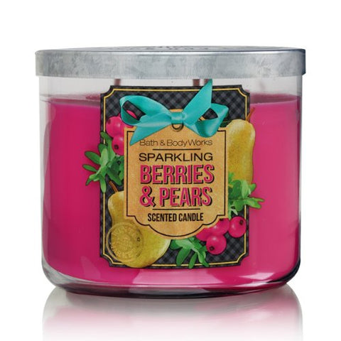 Bath Body Works Sparkling Berries & Pears 3 Wick Scented Candle